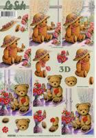 3D sheet Bär mit Hut+Blumen Format A4