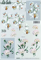 Feuille 3D Nelken weiß Format A4