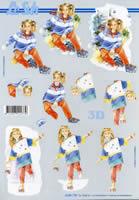 Carta per 3D Mädchen mit Rollschuh Format A4