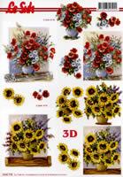 3D sheet Sonnenblumen und Mohnblumen - Format A4
