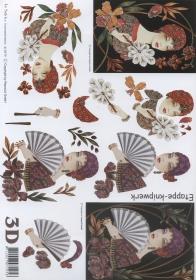 Feuille 3D Format A4 - Frau mit Fächer