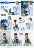 Carta per 3D Junge+M?dchen im Garten Format A4