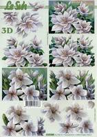 3D Bogen Format A4 - Blumen weiss