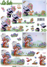 3D Bogen Pandabär+Hase Format A4
