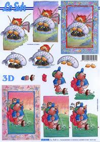 3D sheet Katze mit go?e fisch - Format A4