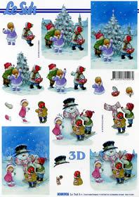 Carta per 3D Schneemann und Kinder