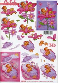 Hojas de 3D Babygirl - Formato A4