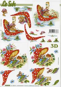 3D sheet Format A4 Frau Maus mit Pilz