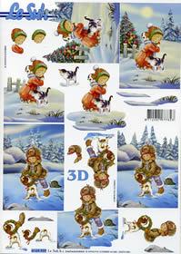 Feuille 3D Kinder im Schnee+Katze-Hund - Format A4