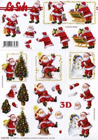 Hojas de 3D Weihnachtsmann+Baum Format A4
