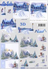 3D sheet Hauser im Schnee - Format A4