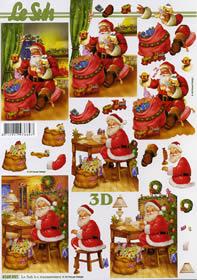 3D Bogen Weihnachtsmann zu Hause - Format A4