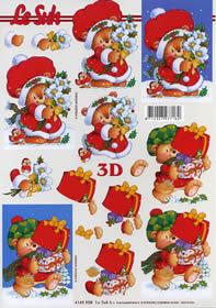 Hojas de 3D Weihnachtsb?r mit Geschenken - Formato A4