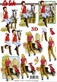 Feuille 3D Format A4 - Mädchen mit Pferd