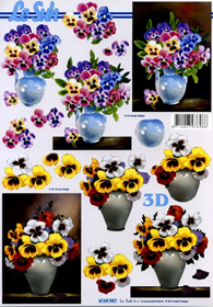 3D sheet Format A4 Veilchen in Vase