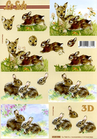 Feuille 3D Rehkitz+Hase Format A4