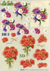 Hojas de 3D Blumenstauß +Roenstrauß Format A4