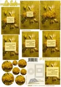 3D Bogen gelbe Rosen Pyramides - Format A4