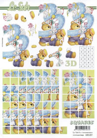 3D Bogen 3.Geburtstag Squares - Format A4
