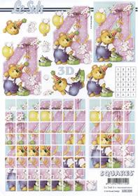 3D sheet 4.Geburtstag Squares - Format A4
