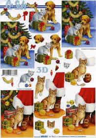 3D sheet Weihnachtsbaum mit Hund - Format A4