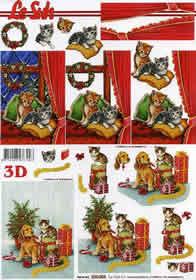 Feuille 3D Weihnachten mit Katze - Format A4