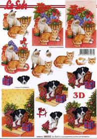 Feuille 3D Weihnachtskorb mit Katze/Hund - Format A4