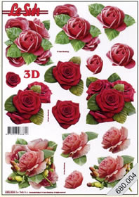 3D sheets punched out 3x Blumen - Format A4