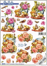 3D sheets punched out 2x Rosen,Schmetterlinge - Format A4