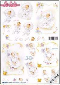 3D sheets punched out 2x Baby - Format A4