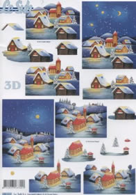 3D sheets punched out Dorf im Winter - Format A4