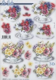 3D Bogen gestanzt Blumen - Format A4