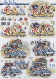 3D sheets punched out Urlaub Zelt/Auto - Format A4