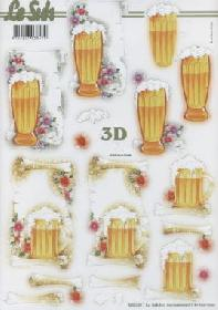 3D sheets punched out Bier - Format A4