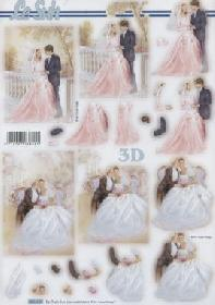 3D sheets punched out Hochzeit - Format A4
