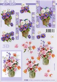 Hojas de 3D Blumen in der Vase Format A4