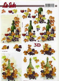 3D sheet Weinflasche+Weintrauben Format A4