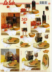 3D Bogen Glaswein+Weintrauben Format A4