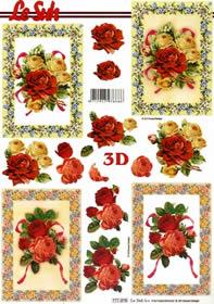 3D Bogen Rosen im Rahmen - Format A4