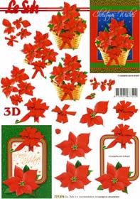 3D Bogen Weihnachtsblumen im Rahmen - Format A4