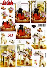 3D Bogen Hund und Katze Format A4