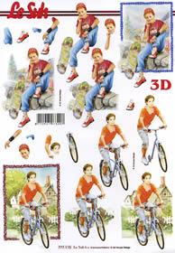3D sheet Junge auf Fahrrad - Format A4