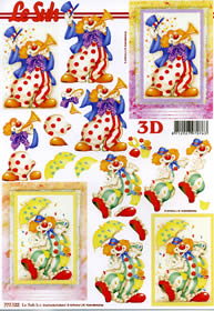 3D sheet Format A4 Clowns