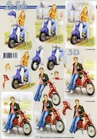 3D sheet Mädchen am Roller Format A4