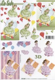 Carta per 3D Format A4 - Mädchen im Kleid