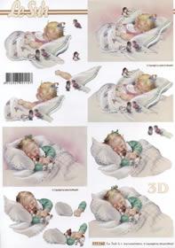 Feuille 3D Geburt M?dchen - Format A4
