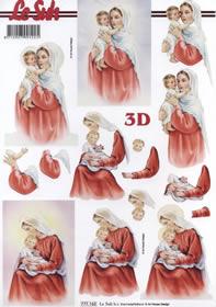 3D Bogen Heilige Mutter mit Kind Format A4
