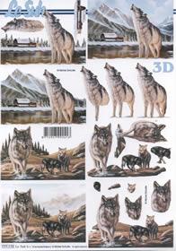3D Bogen Wolf+Jungtiere - Format A4