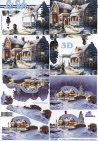 3D Bogen Weihnacht Haus Baum - Format A4