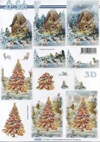 3D Bogen Weihnachten au?er Haus - Format A4
